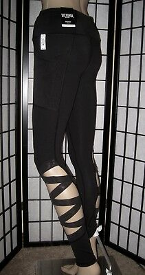 Nwt Victoria's Secret Sport Black Mesh Side Strappy Knockout Tight Yoga Leggings