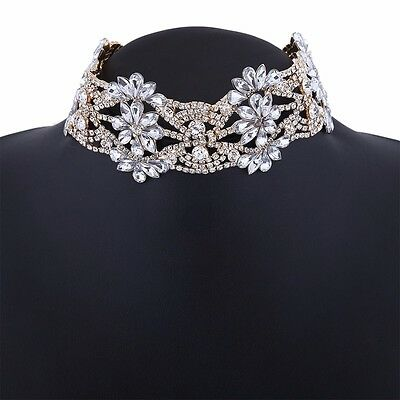 fashion big crystal flowers collar choker necklace vintage statement necklace