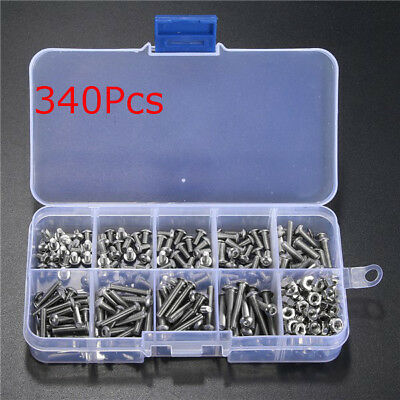 340pcs M3 A2 Stainless Steel Hex Screw Nuts Bolt Cap Socket Assortment Box AU