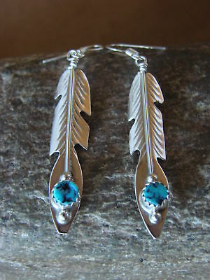 Native American Sterling Silver Turquoise Feather Dangle Earrings by J. Begay
