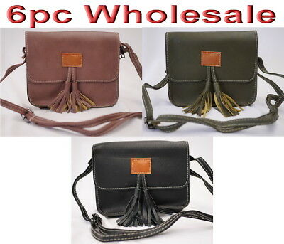 6pc Wholesale Women Girl PU Leather Shoulder Crossbody Bag Messenger Handbag Mix