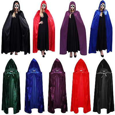 Hooded Velvet Cloak Cape Medieval Pagan Witch Wicca Vampire Robe Wedding Costume