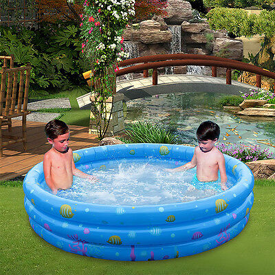 130cm Inflatable Large Swimming Paddling Pool Kids Child Outdoor Garden Fun Play