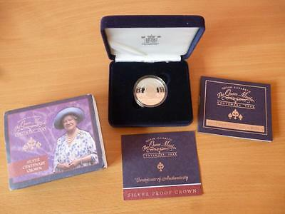 2000 Silver Centenary Proof Crown £5 Coin The Queen Mothers  Cased With Coa.