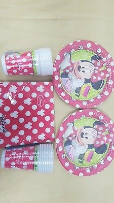 Disney Minnie Mouse Party Set For 16 People Cups Napkins Plates