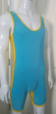 Mens wrestling suit  leotard torquoise with yellow  panals lycra size xl