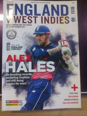 Official England V West Indies  Programme -  Royal London One Day Series 2017