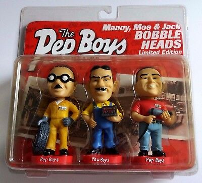 "Pep Boys Bobble Heads Manny Moe Jack Limited Edition 4.75"" Tall ~ New Sealed"