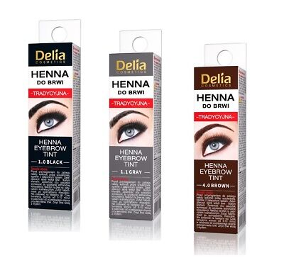 DELIA Traditional Henna Eyebrow Powder Tint Kit Set 2g Brown Grey Black