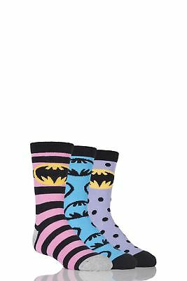 Girls 3 Pair SockShop Batman Striped, Spotty and All Over Motif Cotton Socks