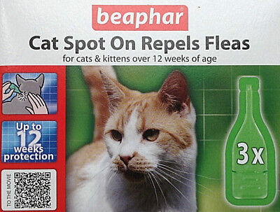 Flea Drops For Cats Spot On Beaphar - 3 x Treatment Pack - 12 Weeks Protection