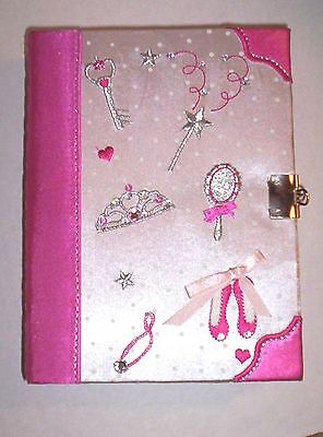 "Ballerina Pink Satin ""Secrets Box"" Embroidered, Appliqued, Jeweled,w/Lock & Key"