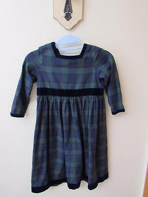 Vintage LAURA ASHLEY Little Girls DRESS Navy/Green TARTAN Plaid Velvet Trim B