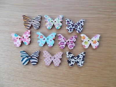 6 X Butterfly Shaped Multi Colours Wooden Fridge Magnet  Random Mixed