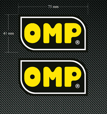 2 x OMP Stickers/Decals 75mm Printed and Laminated  Race Car Rally Motorcycle