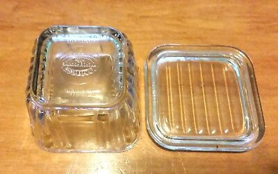 Anchor Hocking Square Vintage Design 1932 Clear Refrigerator Dish Ribbed 4 1/2""