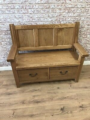 Oak Monks Bench With Storage Drawers