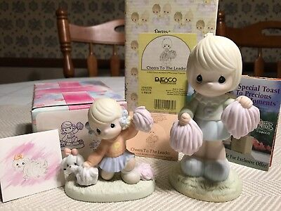 NEW 2 Precious Moments Cheerleader Figurines little Moments Cheers To Leader BOX