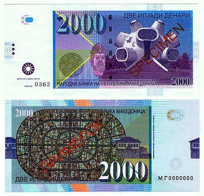 Mazedonien. Macedonia. Private issue. 2000 Denari (2013). UNC. Specimen.
