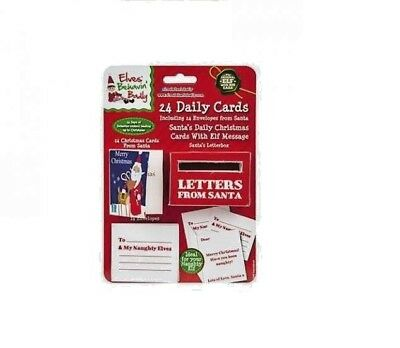 24 Daily Christmas Cards Messages From Santa To Elf With Envelopes & Letter Box