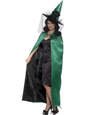 Reversible Witch Cape Teal & Black Adult Womens Ladies Halloween Fancy Dress