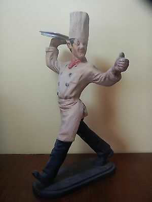 "Vtg TALL HAT CHEF Statue Advertising BISTRO Chef 19""H Restaurant /Kitchen Decor"