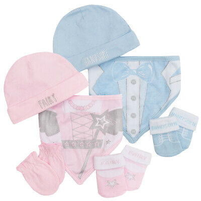 Baby Girls Boys 4 Piece Novelty Gift Set Hat Gloves Socks Bib Shower Mittens New