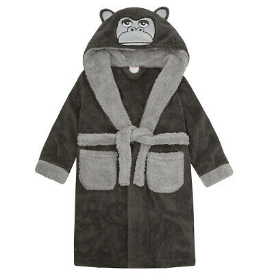 Children Boys Novelty Gorilla Dressing Robe Snuggle Fleece Nightwear Hooded Gown