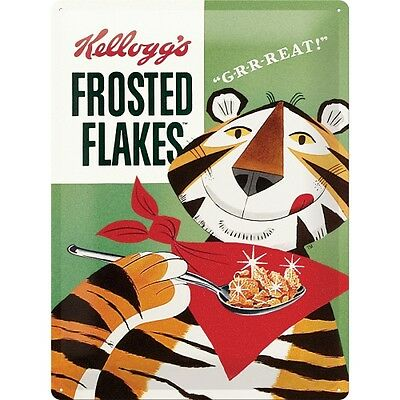 Targa in Latta Kellogg's Frosted Flakes Tony Tiger 30x40 in metallo stampato