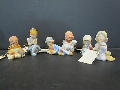 (6) 1980's VTG Miniature Holly Hobbie Ceramic Figurines - All with Tags - Lot B