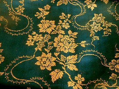 Antique Vtg. French Roses Garland Jacquard Fabric ~ Deep Petrol Blue Mustard
