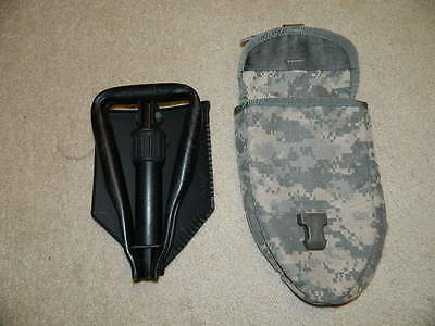 US Army E-Tool Tri-Fold Folding Ames Shovel with New Pouch Great Condition