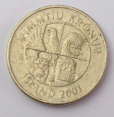 Dated : 2001 - Iceland - 50 Kronur / 50 KR - Coin