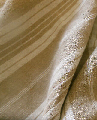 Antique French Rustic Farmhouse Pure Linen Ticking Stripe Fabric ~ Soft Brown