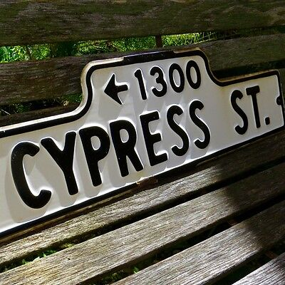 "Vintage Porcelain Cypress St Street Sign 30"" x 9"" Original Hill Road California"