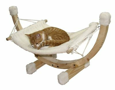 Kerbl Siesta Hammock Wood Frame Pet Cats Relaxing Sofa Bed 73 X 36 X 34 Cm White