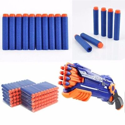 100pcs Bullet Darts For NERF Kids Toy Gun N-Strike Round Head Blasters #S Blue