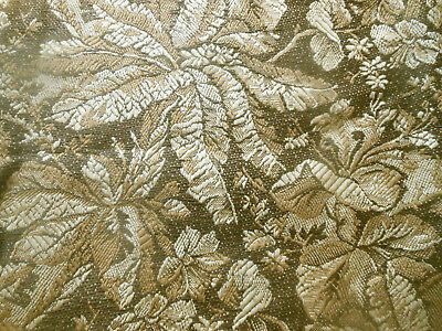 Antique French Botanical Floral Foliage Woven Tapestry Jacquard Fabric ~ Brown