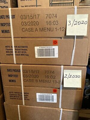Military MRE Case - Genuine US Ready to Eat - Case B - 3/2020 Inspection.
