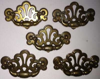 Lot 5 Brass Chippendale Pulls Pierced Cut Out Drawer Handles KBC n18792  (#C30)