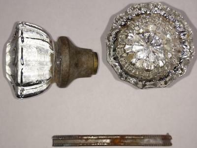 Pair Vintage 12-Point Crystal Doorknobs and Spindle Victorian       #148