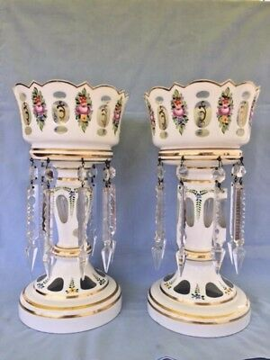 Vintage/Antique Bohemia crystal lusters in white enamel and hand painted flowers