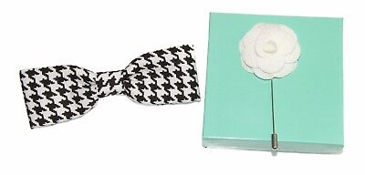 Men's Skinny Black White Houndstooth Clip On Cotton Bow Tie & Lapel Stick Pin