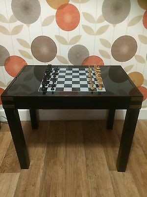 Vintage Glass Topped Game Table Chess Backgammon Cards