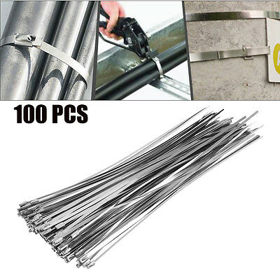 100X Stainless Steel Metal Cable Ties Marine Grade  Zip Tie Wraps Exhaust Strong