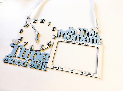 Personalised Baby Clock Frame - Birth Christening New Gift Boy Girl Handmade