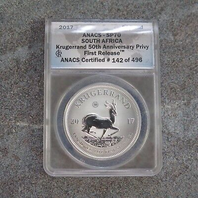 2017 1 Rand Silver Kuggerrand Privy Mark  50th Anniversary  SP70