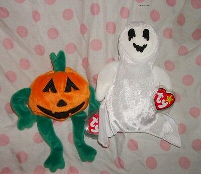 Ty Beanie Baby Babies~HALLOWEEN LOT~Sheets the Ghost & Pumpkin Jack-O-Lantern
