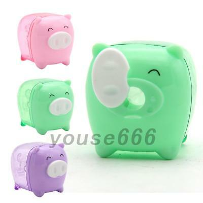 New Cute Cartoon Mini Pig Pencil Sharpener Mechanical for School Kids Gift