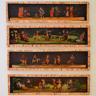 "Antique Magic Lantern Glass Slides Vibrant Colors 6"" x 1.5"" Set of 4"